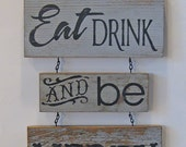 Eat Drink and be Merry Sign, Rustic Sign, Barn wood Sign, Holiday Sign, Bar Sign, Holiday Party Sign, Kitchen Decor, Kitchen Sign Wood