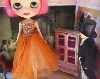 Blythe Hand-Beaded Silk and Tulle Ballet/Evening/Fairy Tutu Gown - Pumpkin Orange