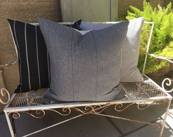 Pillow Cover Set of Three  in Black, Greys and Cream    Designer Fabrics   Farmhouse / Modern / Masculine Decor