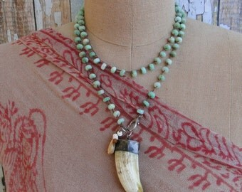 CHRYSOPRASE with TUSK Pendant, yoga, tribal, boho