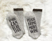 Wine Socks  Bring Me Wine  If You Can Read This White Elephant Gift Exchange Stocking Stuffer  Funny Gift  Humor Gift  Wine Gift Girlfriend