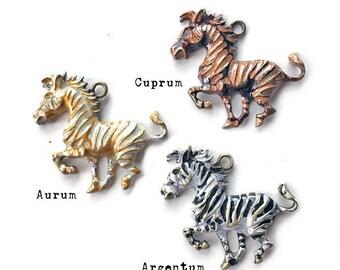 Painted Zebra Pendant, Zebra Necklace, African Zebra Pendant, Pendant for Jewelry, Golden Zebra, Dry Gulch, 1 Pendant, You Choose Color