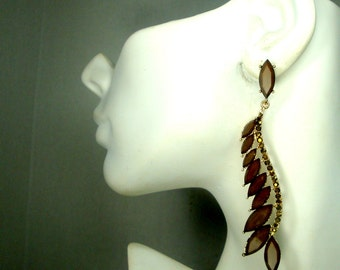 Long Brown Rhinestone Earrings, Glam Statement Gold Glass POST Dangles, Very Long Very Pretty, Sample, Never Used