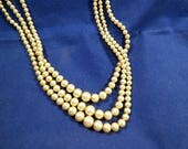 Glamorous Vintage Faux (?) Pearl 3 Strand Necklace, Antique Ivory/Beige, 16 Inches, Classy Accessory
