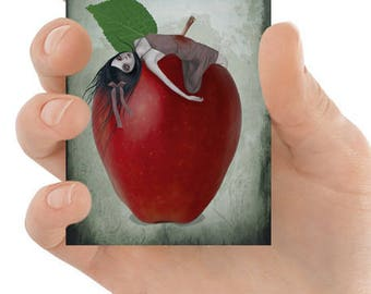 Fairytale ACEO Card - Snow White & Apple - Fairy Tale Art - Fantasy Art - Miniature Art - Death By Apple
