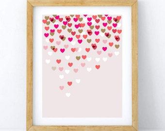 Falling Hearts 8x10 print, Hearts Art Print, valentine's Art Print, Love Art print, Girl Nursery Print, Girl Kids Room Art, 8x10 print