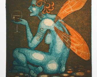 "Two-plate etching print - ""Fairy Wine"" - female nude, classic, simple, elegant. Fantasy art by Nancy Farmer."