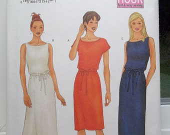 Misses' Sheath Dress Butterick 6587 Fast & Easy Sewing Pattern, 2 Hour Dress with Drawstring Waist, Straight or Flared Dress Size 12 - 16