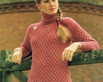 Downloadable Vintage knitting Pattern - 70's Textured Pullover - PDF Pattern - retro 1970s Sweater