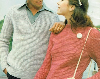Downloadable Vintage knitting Pattern - His and Her Hurdle Stitch Sweaters from 1980 - PDF Pattern - retro 80's Sweater