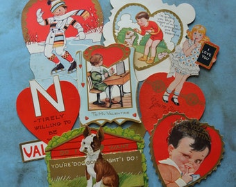 Vintage Die Cut Valentine Cards Children Dogs School
