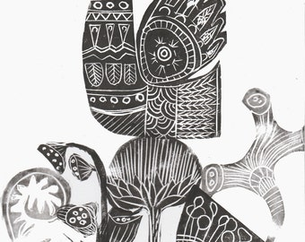 Modern Botanic Lino Cut Original Print