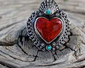 Red Coral and  Turquoise Milagro Heart Ring