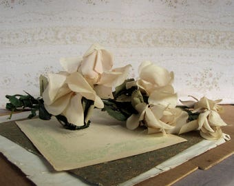 antique millinery flowers - tattered cream roses in a gathered bunch -vintage shabby cottage style
