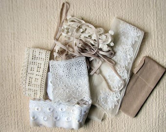 vintage textile pack - cream and white ribbons and lace trim - mixed media, quilting or textile jewelry