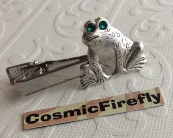 Steampunk Frog Tie Clip Silver Tie Clip Men's Tie Clip Men's Gifts Prince Charming Green Glass Crystal Eyes NEW