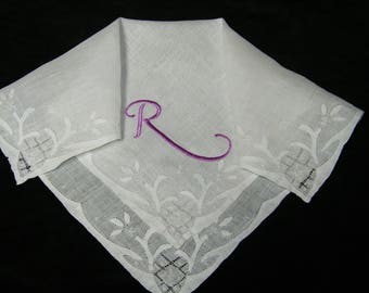 "Vintage 40's Lavender on White Monogram ""R"" Bride's Wedding Handkerchief - 9871"