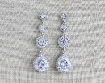 Bridal earrings, Crystal Earrings, Bridal jewelry, Rose gold earrings, Wedding jewelry, Cubic zirconia earrings, Bridesmaids earrings
