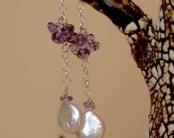 White Pearl Earrings. Sterling Silver. Fresh Water Pearls . Amethyst Gemstone Earrings. Lilac Wedding Earrings. Biwa Pearl Earrings.