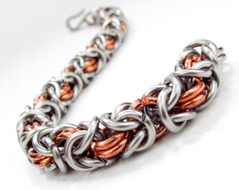 Thick Chainmaille Bracelet - Stainless Steel & Copper