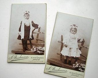 Antique French carte de visite lot, Antique French sisters carte de visite, Antique French girls real photo, Victorian girls CDV