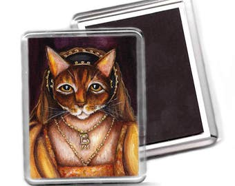 Anne Boleyn Magnet, Abyssinian Cat Wearing Tudor Costume, Fridge Magnet