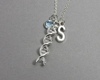 DNA Necklace - genetics science double helix molecule, Personalized Initial Name, Customized birthstone