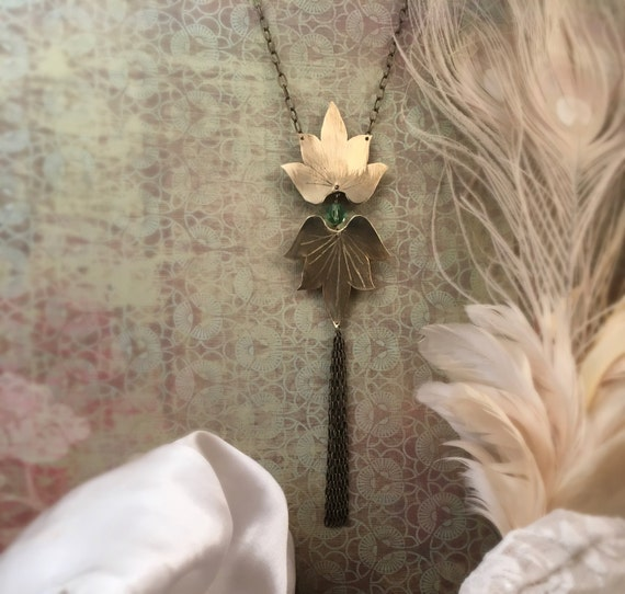 Lotus Blossom Necklace with Swarovski crystal and chain tassel  - Copper, Bronze or Sterling