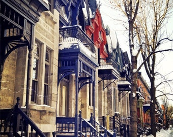 Montreal Art Architecture Art Photography Quebec Plateau Canada Winter Snow Snowfall Beautiful Romantic Wall Decor Print - Rue Laval