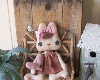 "Primitive Bunny Rabbit Art Doll with Heart Pillow Baby Girl Mauve Rose Pink ""Bunny B. Love""  Shabby Cottage Chic Ofg Hafair Faap"