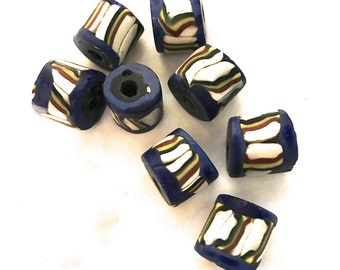 Matched Trade Beads,  African Trades Beads, Loose Blue Striped Flat-Ended African Trade Beads x 10