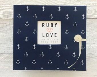Navy Anchors Baby Book   BABY BOOK