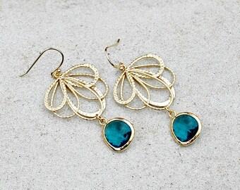 Gold Chandelier Earrings,Teal Jewel, Bohemian, Wedding, Boho Jewelry