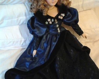 Vintage Porcelain Doll - Victorian Style Bed Doll in Dark Blue