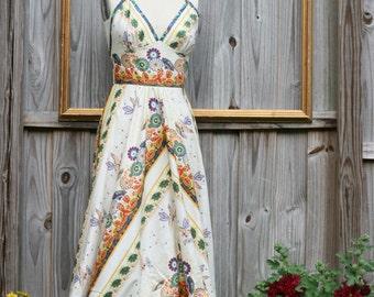 bohemian handmade dress sleeveless with open v back design and flare skirt in - GYPSY Dance