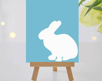 Gold-Teal/Aqua Easter Bunny Wall Art - Easter Decor - 8x10 Wall Art