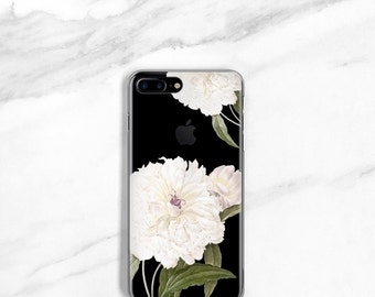 CLEAR Floral iPhone 7 Case, iPhone 7 Plus Case, White Peony, iPhone 6 / 6S Plus Case, Clear, iPhone 5 / 5S / SE Case
