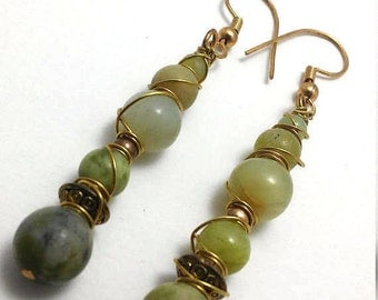 Mixed Stone Stick Earrings Featuring Jade and Jasper
