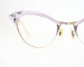 Vintage 1950s Cat Eye Glasses American Optical Pink Aluminum Shiny Metallic Pin Up Sexy Cateye Glasses Eyeglasses Womens 50s Fifties Ladies
