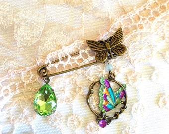 butterfly shawl pin, butterfly brooch, bright butterfly jewelry, kilt pin brooch