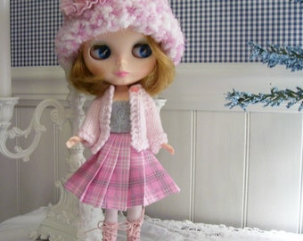 Four Piece Outfit for Blythe...Hand Knitted Sweater...Pleated Skirt...Matching Top...Pink and Gray