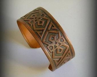 Vintage Solid Copper Tribal Cuff Vintage Copper Bracelet