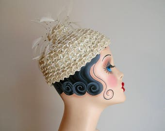 Vintage 40's to 50's Beaded and Sequin Wedding Hat