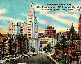 Vintage Boston Postcard - Boylston Street at Copley Square (Unused)