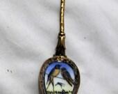 Vintage Enamel Decorated Spoon, Barn Swallows, Czechoslovakia