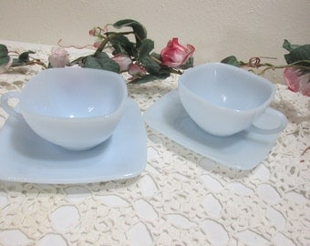 Fire King Cup and Saucer Azurite Blue Charm Set of 2