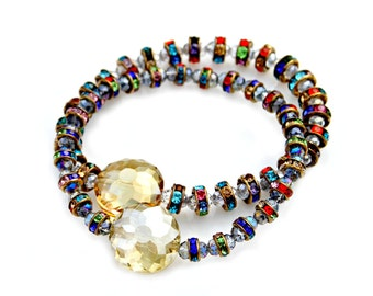 Crystal Bracelets Vintage Rainbow Copper Crystals Set of Two Sparkle Shimmer Yellow Canary High Fashion Posh Chic Celebrity Style Mei Faith