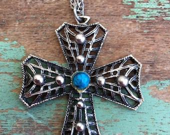 Vintage Faux Turquoise Silvertone Filigree Cross pendant Necklace