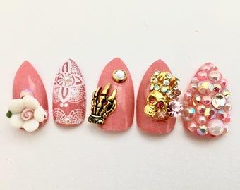Pink Pastel Goth Fake Nails | Scary Cute Nails | Japanese 3D Nail Art | Lolita Princess Cosplay Kawaii Press On Nails | Shibuya Style Nails