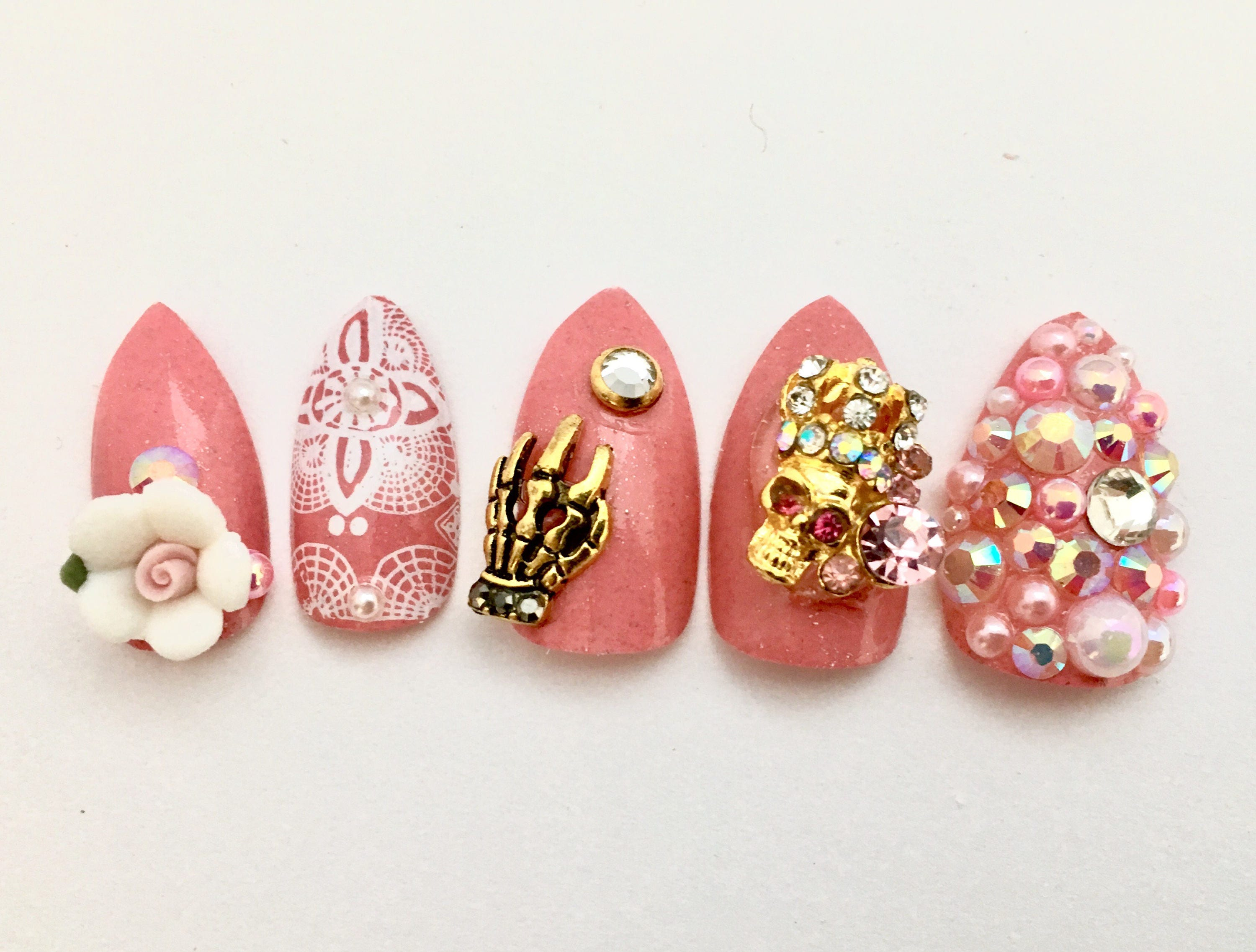 Pink pastel goth fake nails scary cute nails japanese 3d nail 3400 prinsesfo Image collections